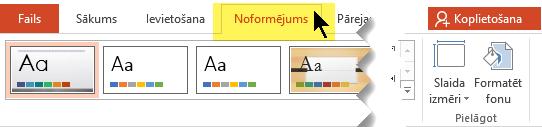 Atlasiet rīkjoslas lentes cilni Noformējums. Izvēlnes pogai Slaida izmēri labajā pusē ir slaida orientācijas vadīkla.