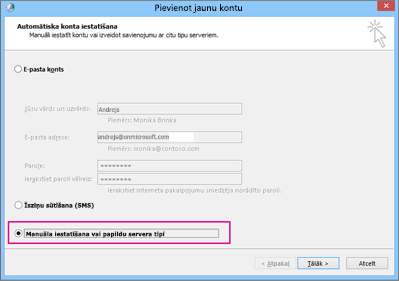 Izvēlieties Manuāla servera iestatījumu vai papildu pakalpojumu veidu konfigurēšana.