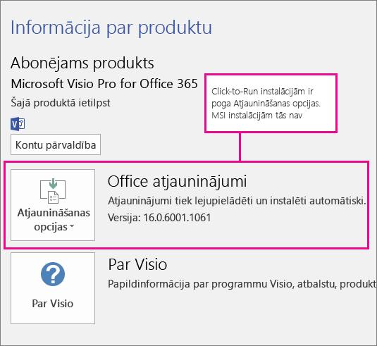 Ja instalācija izmanto tehnoloģiju Click-to-Run, tās lapā Konts ir poga Atjaunināšanas opcijas. Ja instalācijas pamatā ir MSI, šī poga nav pieejama.