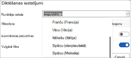 Valodas, kurās var diktēt