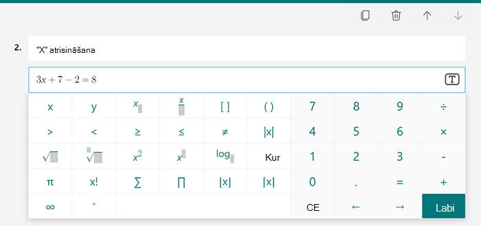 Matemātisko vienādojumu opcijas viktorīnai programmā Microsoft Forms