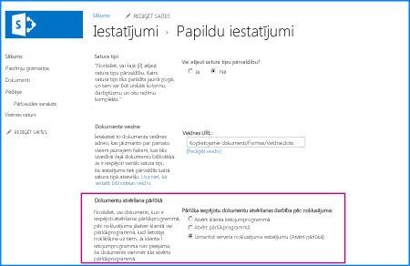 sharepoint dokumentu bibliotēkas detalizēto iestatījumu lapas ekrānuzņēmums