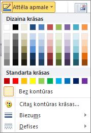 Outlook 2010 attēla apmales izvēlnē