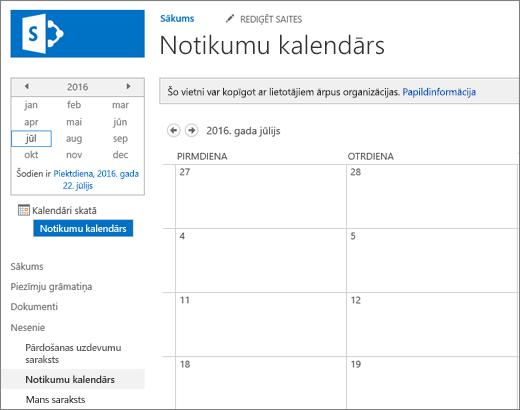 Kalendāra saraksta lietojumprogrammas piemērs.