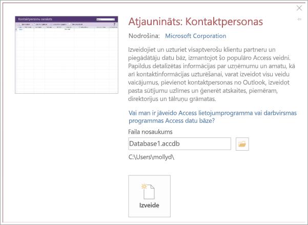 Kontaktpersonu saraksta interfeisa ekrānuzņēmums