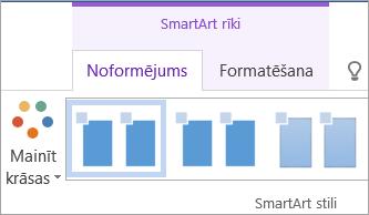 Sadaļas SmartArt rīki cilnes Noformējums poga Mainīt krāsas