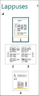 Lappušu navigācijas rūts, kurā redzamas gan atsevišķas lappuses, gan divu lappušu izklājums.