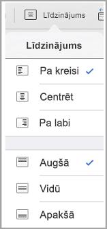 iPad teksta līdzinājuma izvēlne