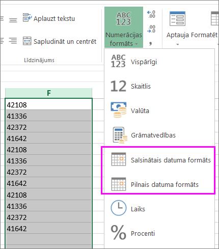 kolonna ar datumiem teksta formātā