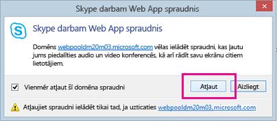Paziņojums par uzticamību Skype darbam izdevuma tīmekļa lietojumprogrammas spraudņa domēnam