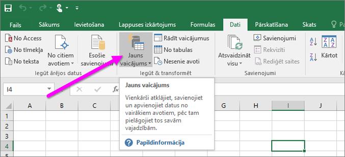 Jauns vaicājums programmā Excel2016