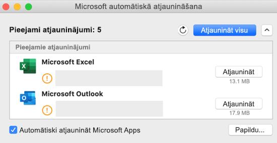 Microsoft automātiskās atjaunināšanas informācijas paneļa attēls ar informāciju par atjauninājumiem.