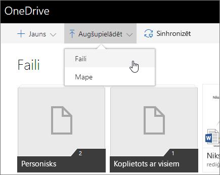 Ekrānuzņēmums, kurā redzams, kā kopīgot, izmantojot OneDrive darbam