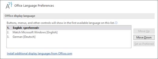 Office displeja valoda