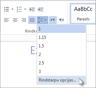 Rindstarpu izvēlne programmā Word Web App