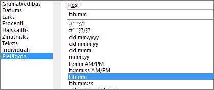 Dialoglodziņš Šūnu formatēšana, pielāgota komanda, h:mm tips