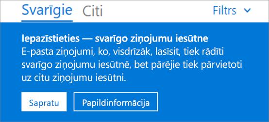 Attēls, kas parāda, kā svarīgo ziņojumu iesūtne izskatās, kad lietotājs pirmo reizi atver programmu Outlook tīmeklī.