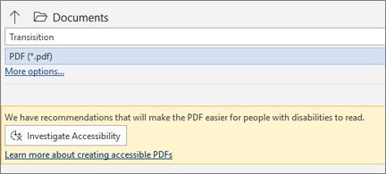 Dialoglodziņš Saglabāšana PDF formātā ar dzeltenu ziņojuma lodziņu, kurā pirms saglabāšanas varat pārbaudīt PDF faila pieejamību