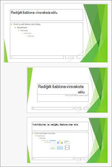 Slaidu šablons ar diviem slaidu izkārtojumi