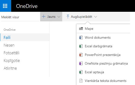 Ekrānuzņēmums: dokumenta izveide OneDrive.com