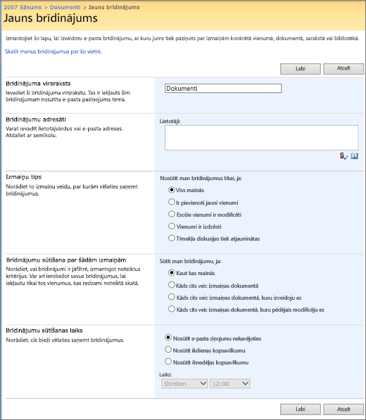 SharePoint 2007 brīdinājuma opciju lapā