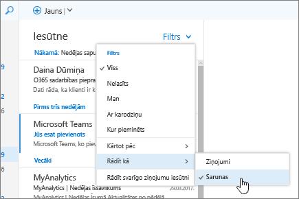 Ekrānuzņēmums: iesūtne ar atlasītu opciju Filtrs> Rādīt kā> Sarunas.