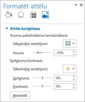Attēla koriģēšanas opcijas attēla formatēšanas uzdevumrūtī