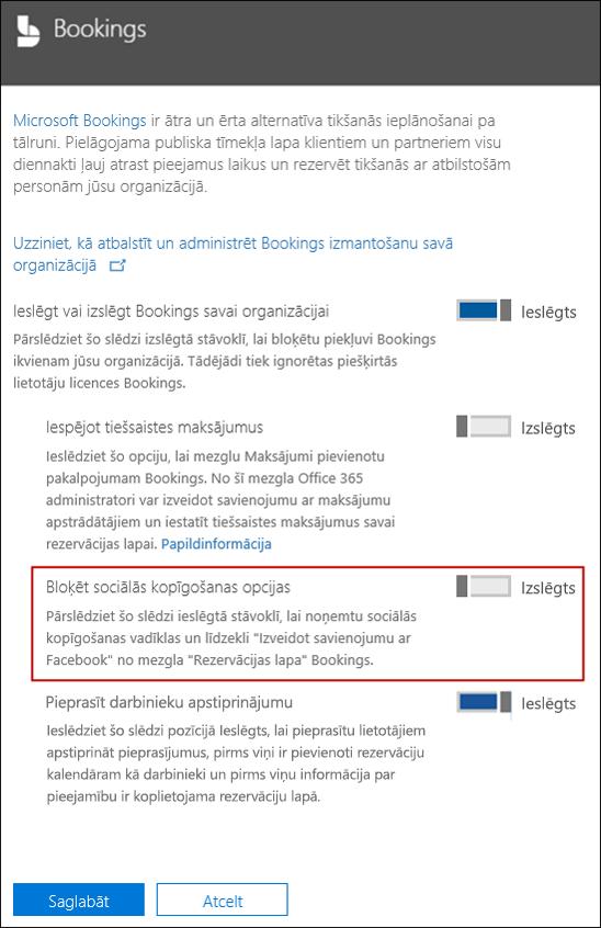 Ekrānuzņēmums: Bloka sociālo koplietošanas opcijas rezervēšana