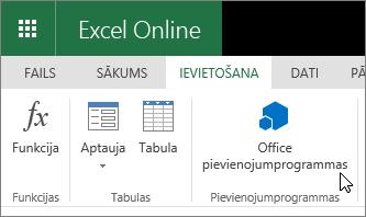 """Ekrānuzņēmums, kurā tuvplāns ievietot cilnes pievienojumprogrammas grupā lente ar kursoru, kas norāda uz """"Office pievienojumprogrammas""""."""