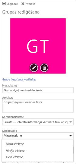 Izvēlieties Office365 grupas klasifikāciju