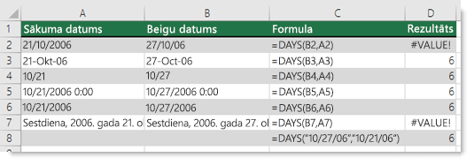 Dažādu funkciju DAYS izvade