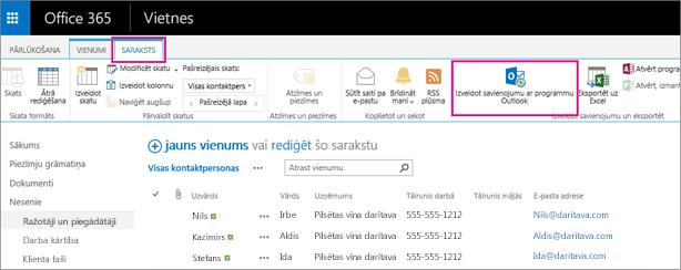Lai sinhronizētu savu kontaktpersonu sarakstu ar Outlook, kontaktpersonu sarakstā izvēlieties Veidot savienojumu ar programmu Outlook