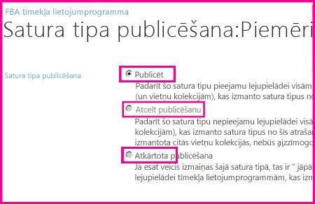 Centrmezgla vietnes lapā Satura tipu publicēšana varat publicēt, atkārtoti publicēt satura tipu vai atsaukt tā publicēšanu.