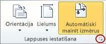 Dialoglodziņa ikonas Lappuses iestatīšana