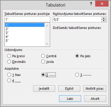 Tiek rādītas opcijas dialoglodziņā Tabulatori.