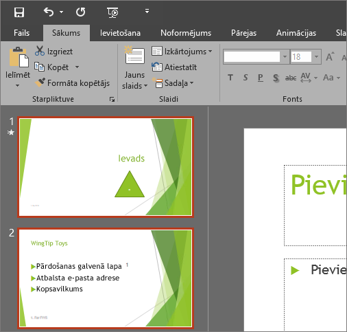 Parāda PowerPoint2016 ar tumši pelēku dizainu.