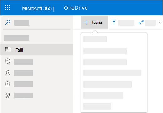 Ekrānuzņēmums, kurā parādīta izvēlnes Jauns atlase, lai izveidotu jaunu dokumentu pakalpojumā OneDrive darbam.