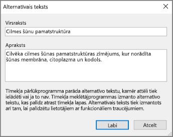 Ekrānuzņēmums ar dialoglodziņu Alternatīvais teksts programmā OneNote ar piemēra tekstiem laukos Nosaukums un Apraksts.