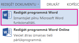 Word Online ekrānuzņēmums ar atlasītu opciju Rediģēt programmā Word