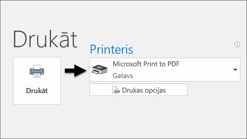 Izmantojiet komandu Drukāt, lai izdrukātu e-pasta ziņojumu kā PDF failu.