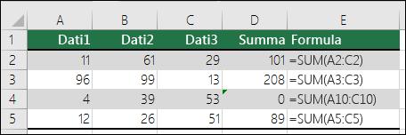 Excel parāda kļūdu, ja formula neatbilst blakus esošo formulu modelim