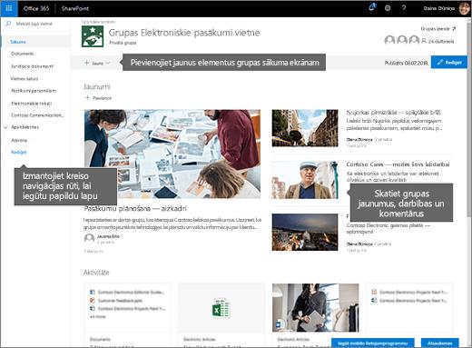 SharePoint Online grupas vietnes sākumlapas