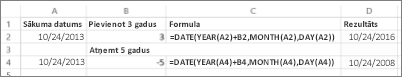 Datumu pieskaitīšanas un atņemšanas piemēri