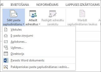 Ekrānuzņēmums ar tādu cilni Sūtījumi programmā Word, kurā redzama komanda Sākt pasta sapludināšanu un saraksts ar pieejamām sapludināšanas tipa opcijām.