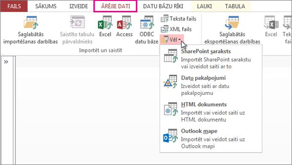 Ārējo datu cilnes opcijas programmā Access