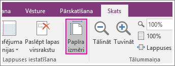 Ekrānuzņēmums, kurā parādīta poga Papīra formāts programmā OneNote2016.