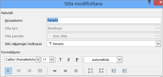 Word stila modificēšanas formāts