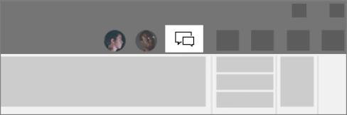 Pelēkajā izvēlnes josla ar iezīmētu pogu tērzēšana