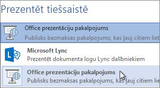 Tiešsaistes prezentācija, izmantojot Office prezentāciju pakalpojumu