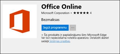 Office Online paplašinājuma lapu Microsoft Store